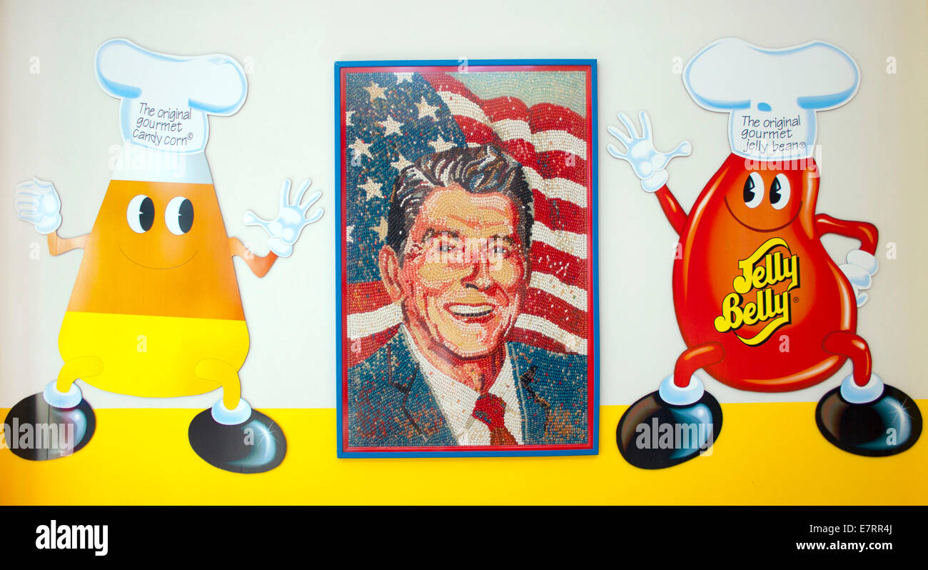 Ronald Reagan portrait at the Jelly Belly Factory Museum in Fairfield California - Stock Image