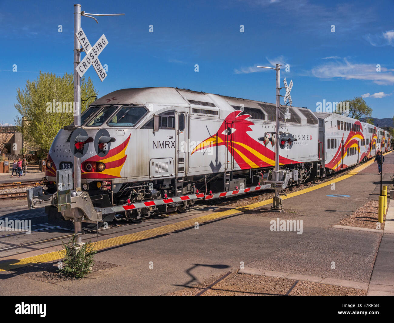 rail runner train leaving santa fe station new mexico stock image