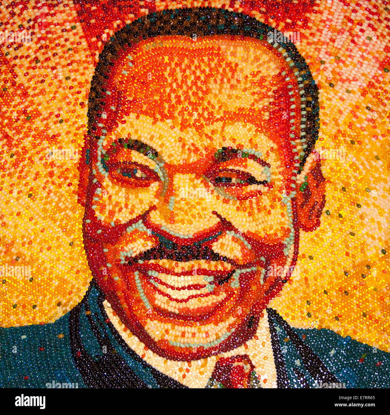 Martin Luther King portrait at the Jelly Belly Factory Museum in Fairfield California - Stock Image