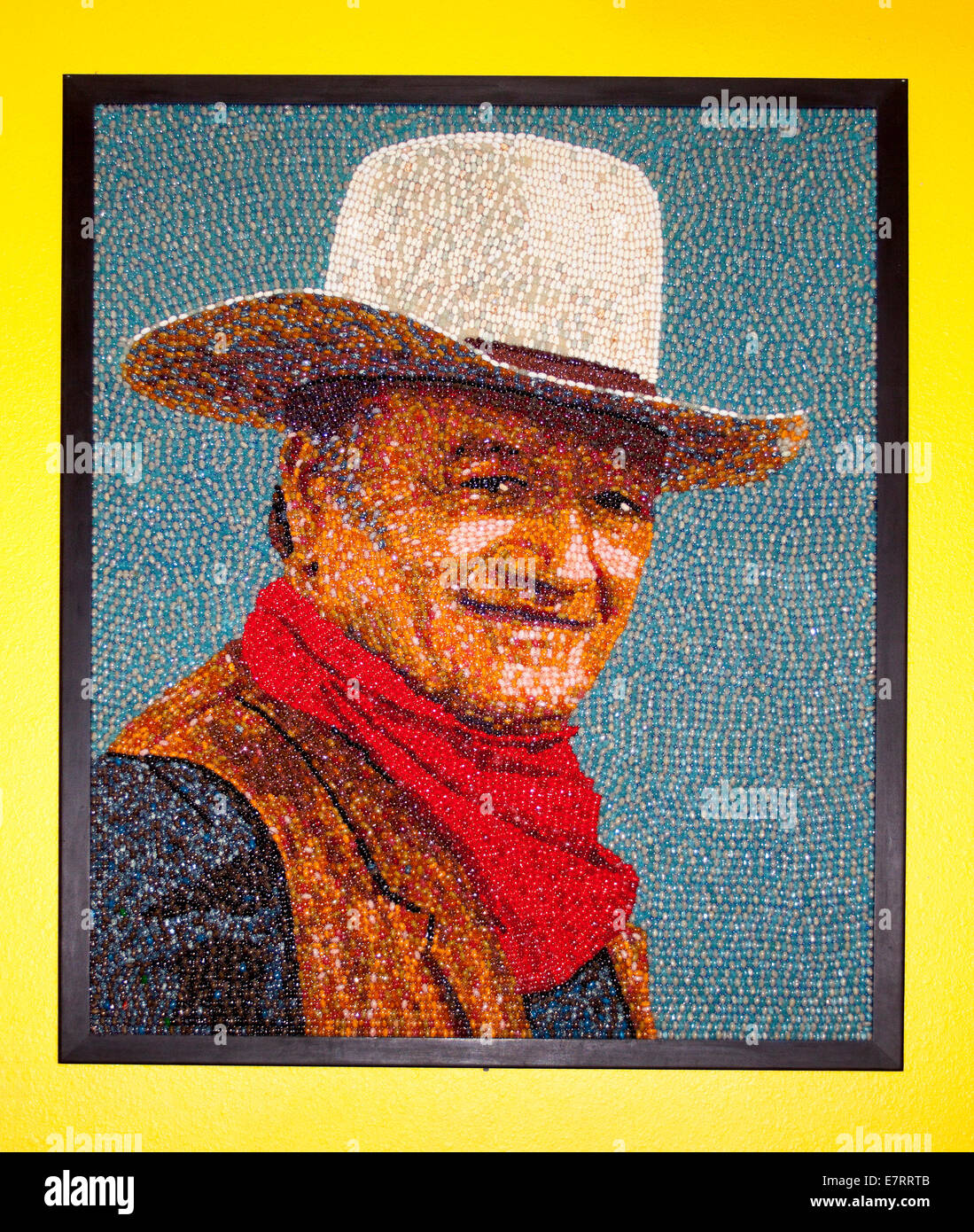 John Wayne portrait at the Jelly Belly Factory Museum in Fairfield California - Stock Image