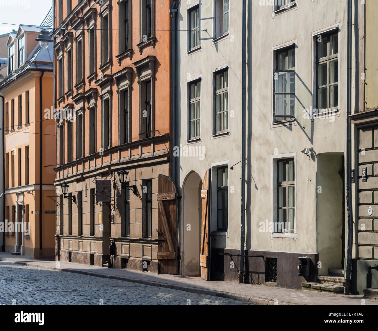 Architecture  on Pils street in the Old Town of Riga, Latvia. - Stock Image