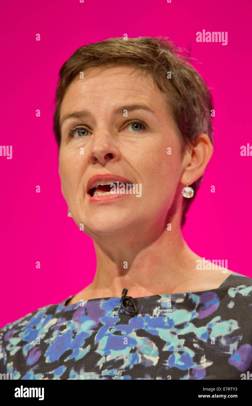 MANCHESTER, UK. 23rd September, 2014. Mary Creagh, Shadow Secretary of State for Transport, addresses the auditorium - Stock Image