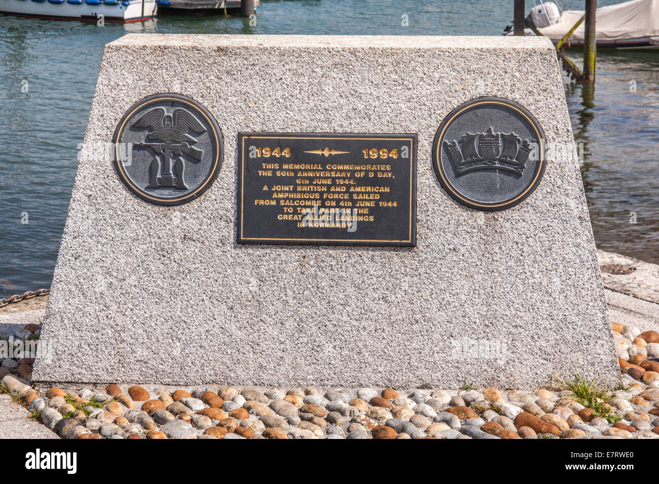 D Day landings fiftieth anniversary  memorial, Salcombe, South Devon, England, United Kingdom. - Stock Image
