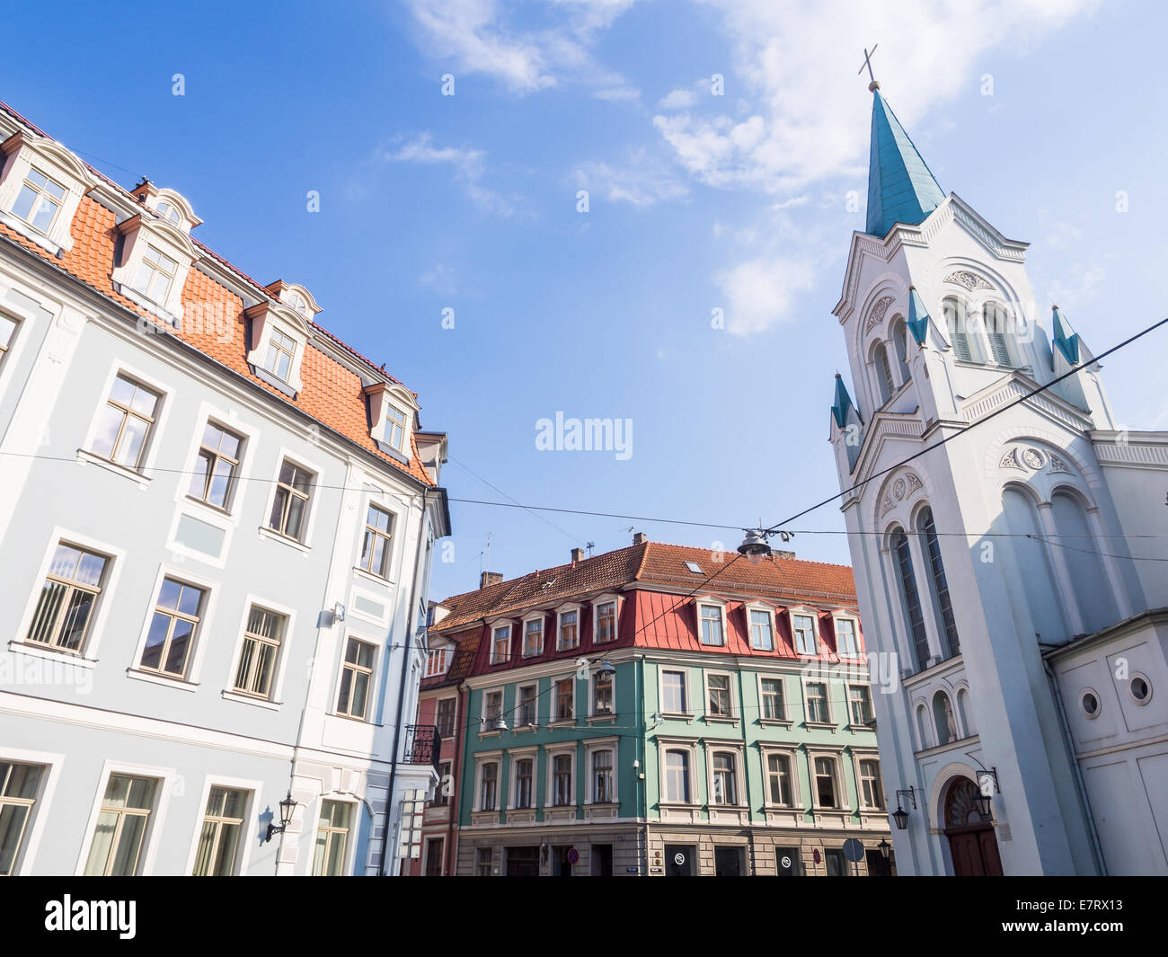 Virgin of Anguish church and architecture of the Old Town of Riga, Latvia. - Stock Image