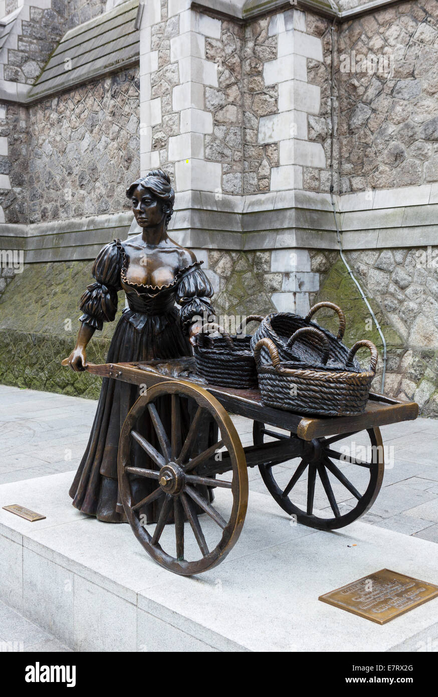 Statue of Molly Malone in its temporary home (till 2017) outside the tourist office on Suffolk Street, Dublin City, - Stock Image