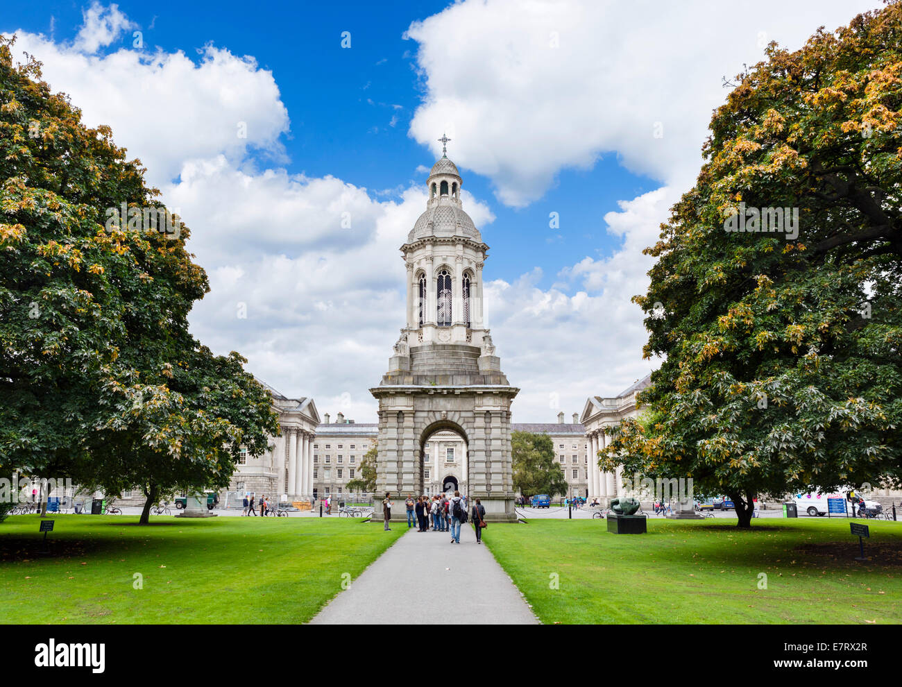 Library Square and the Campanile, Trinity College, Dublin, Republic of Ireland - Stock Image