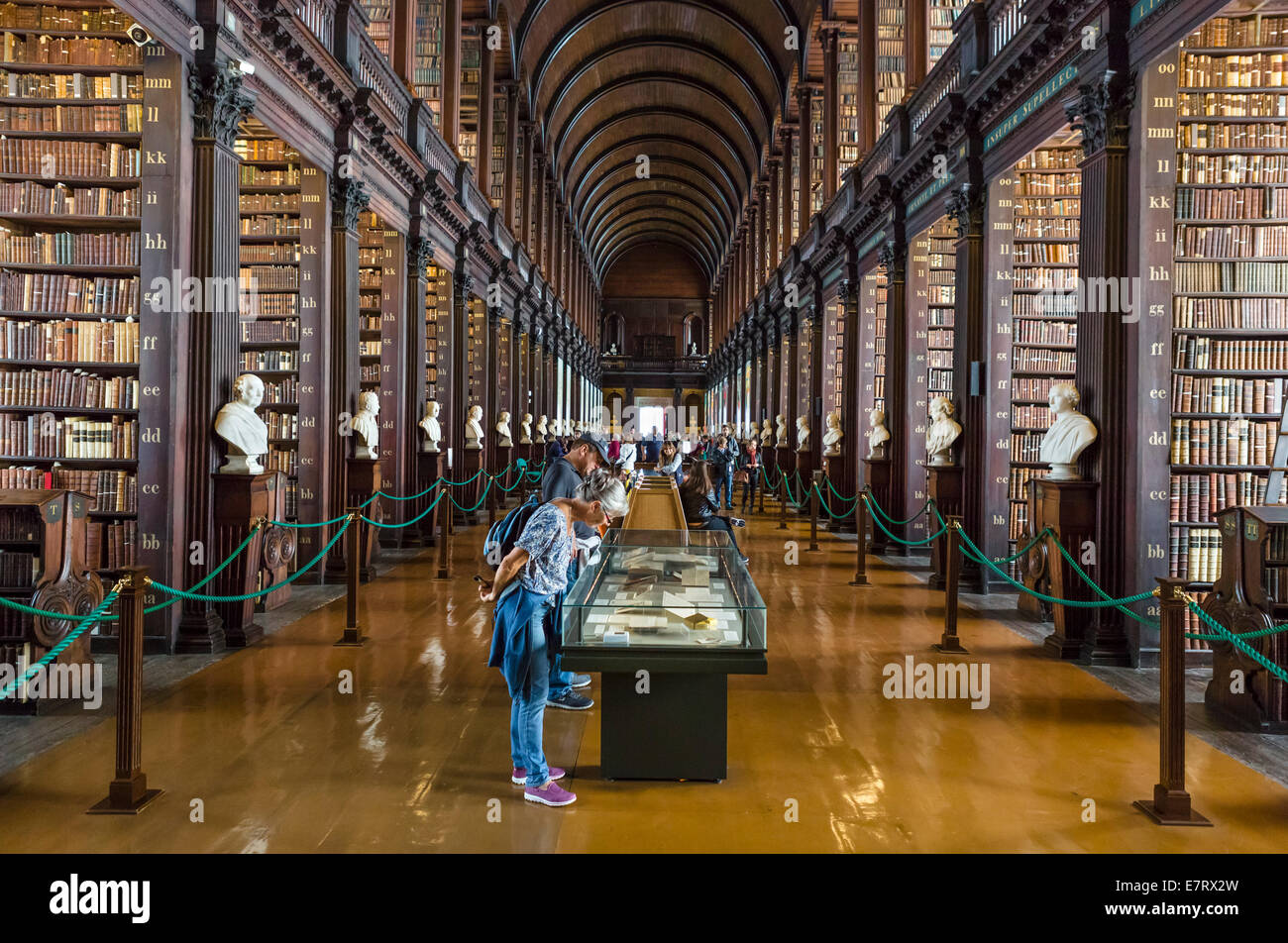 Trinity College Library. The Long Room in The Old Library, Trinity College, Dublin, Ireland - The Book of Kells - Stock Image