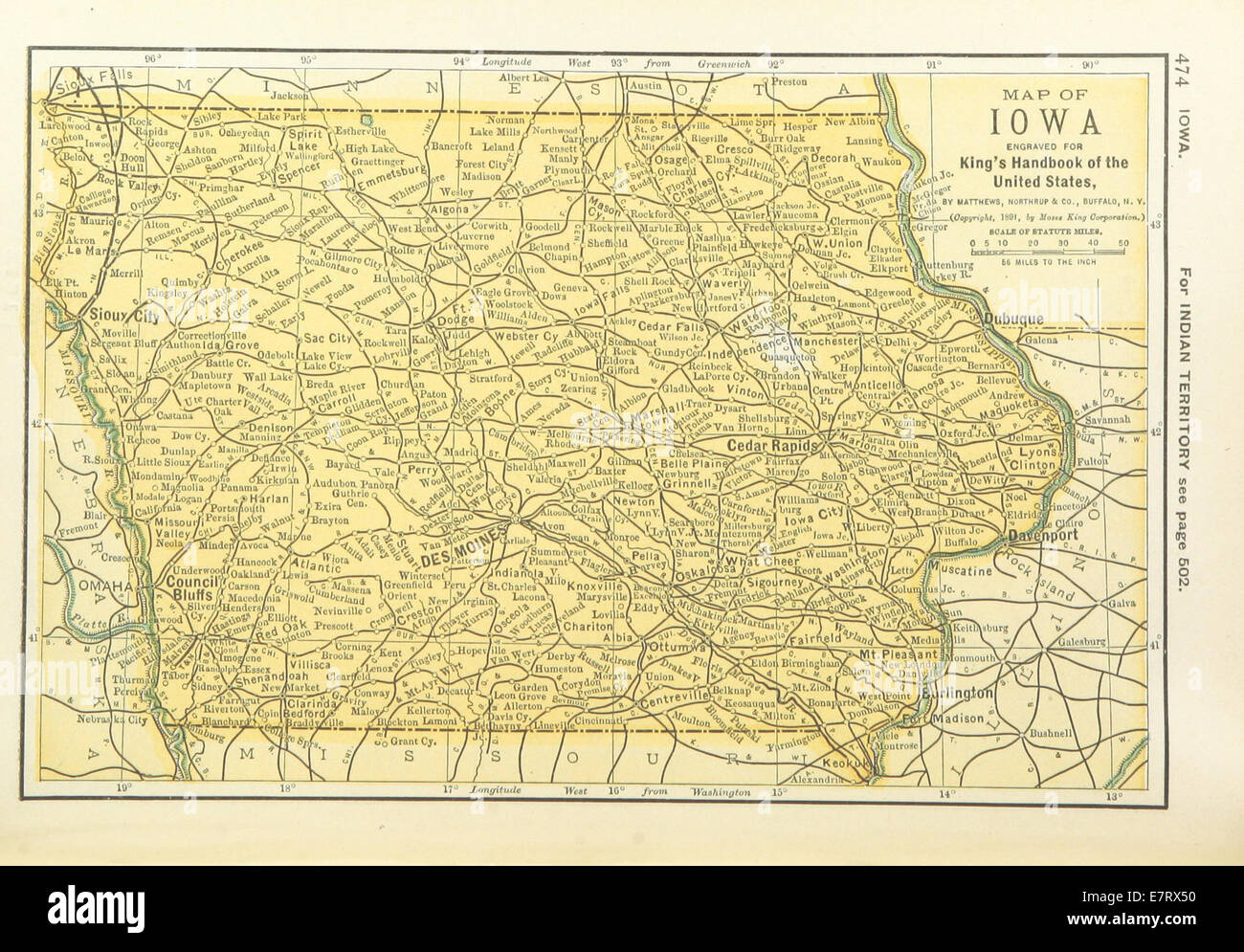 Us Maps 1891 P476 Map Of Iowa Stock Photo 73669484 Alamy