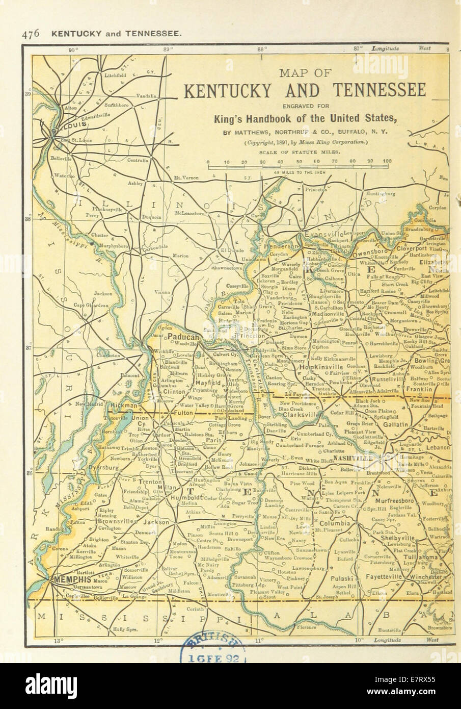 Us Maps 1891 P478 Map Kentucky Tennessee Stock Photos Us Maps 1891
