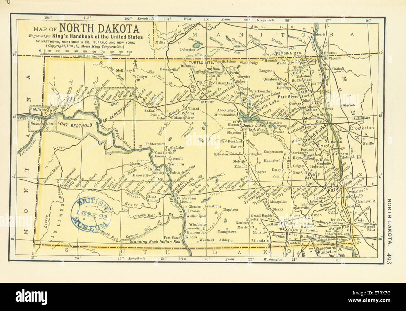 Map Of North Dakota Stock Photos Images Oberon Wire Diagram Us Maps1891 P495 Image