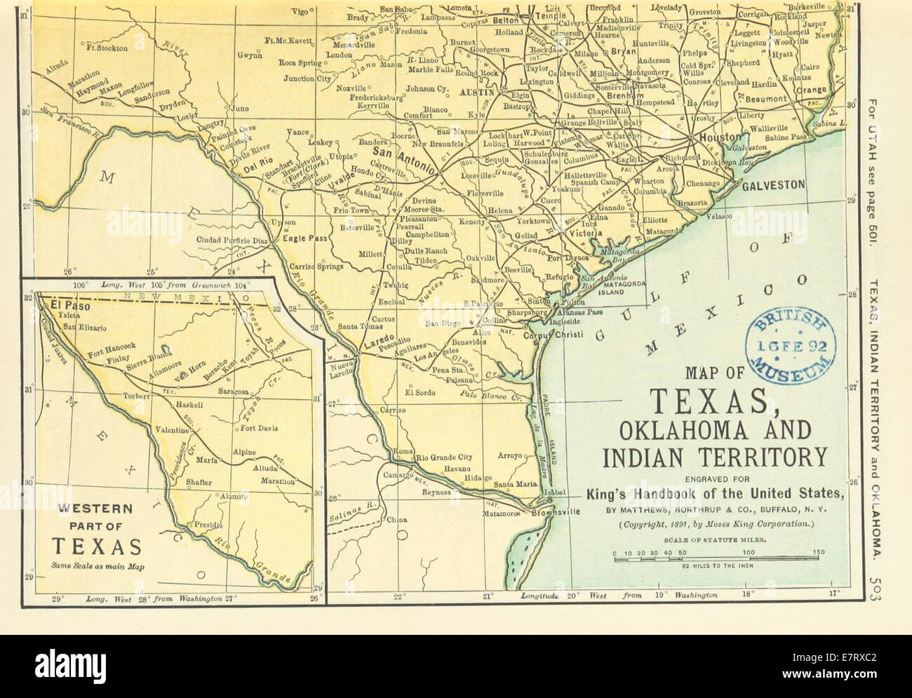 Us Maps 1891 P505 Map Of Texas Oklahoma And Indian Territory R