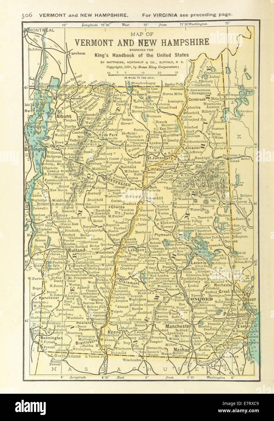 US-MAPS(1891) p508 - MAP OF VERMONT AND NEW HAMPSHIRE Stock Photo ...