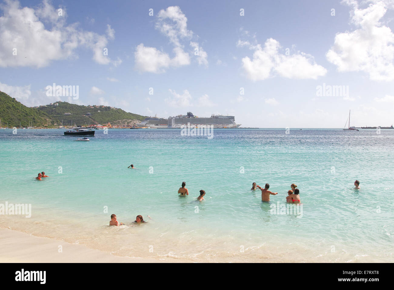 The Beach St Maarten with Azura in port behind - Stock Image