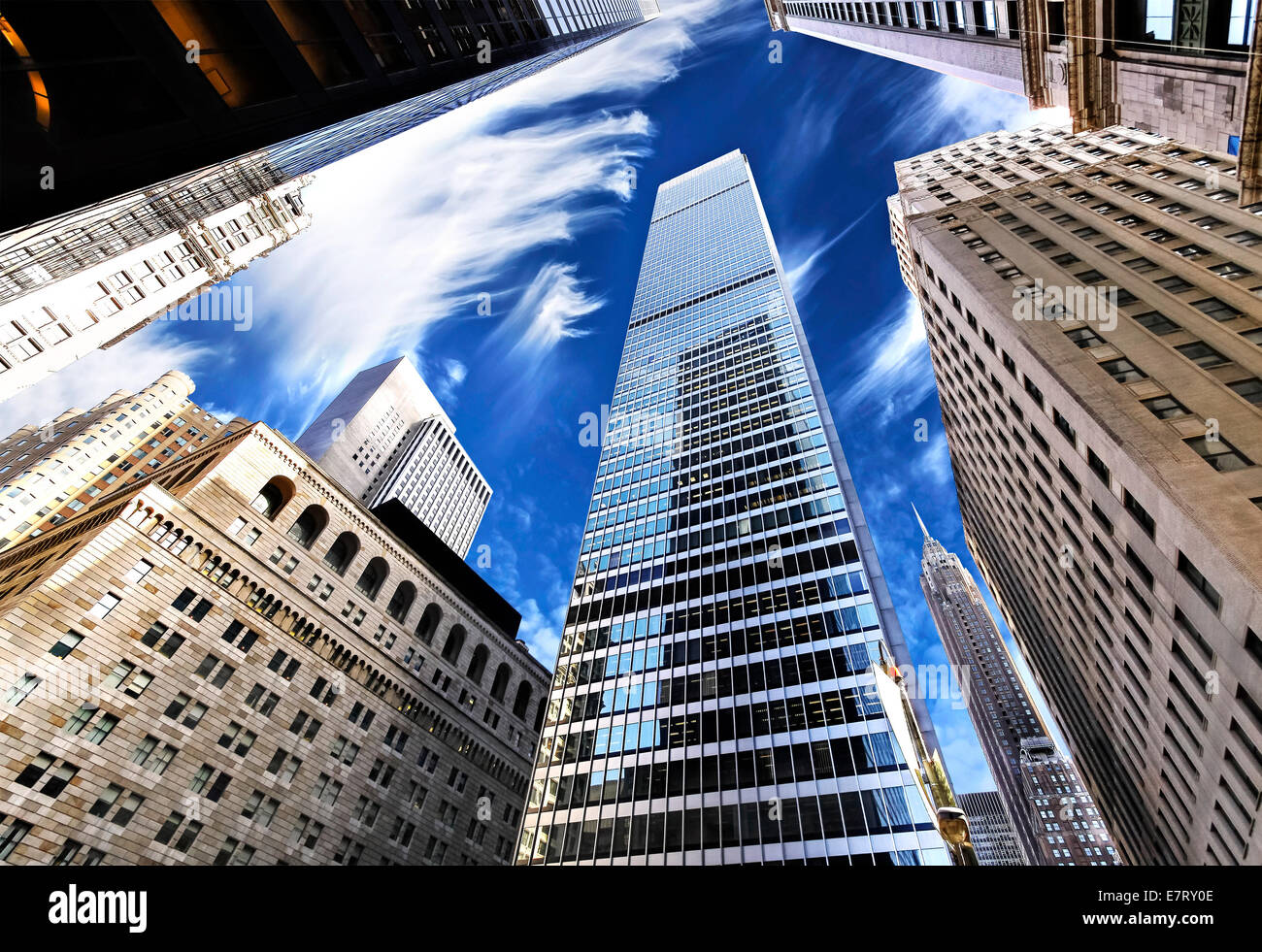 Skyscrapers in Lower Manhattan, looking up at sky, New York City. - Stock Image