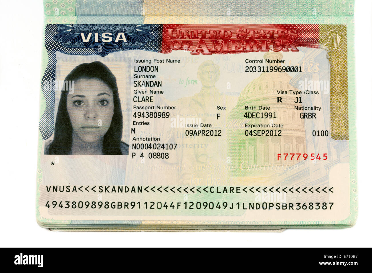 usa work visa in a passport all name and numerical details altered stock photo 73671227 alamy. Black Bedroom Furniture Sets. Home Design Ideas