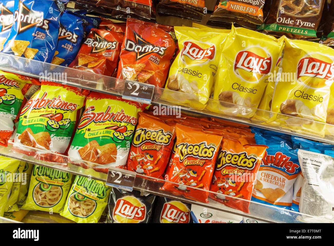 Los Angeles California CA LAX international airport terminal shop business display shopping packaging snacks chips - Stock Image
