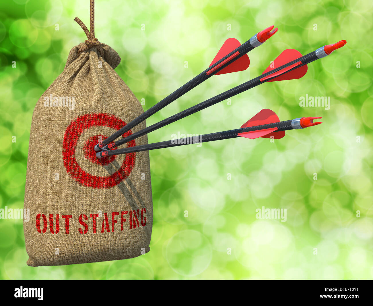 Outstaffing - Arrows Hit in Red Target. - Stock Image