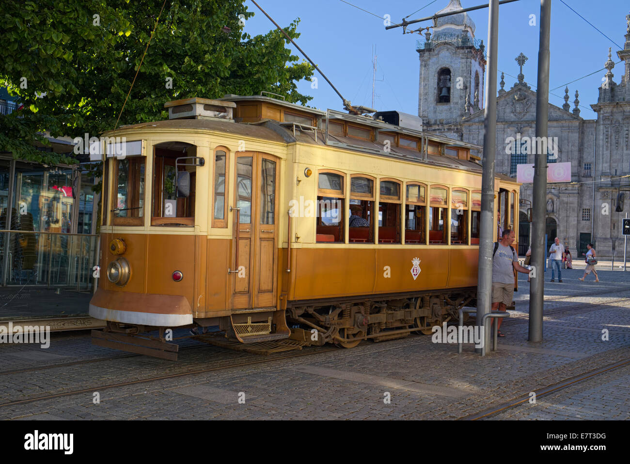 Old electric tram Oporto Portugal - Stock Image