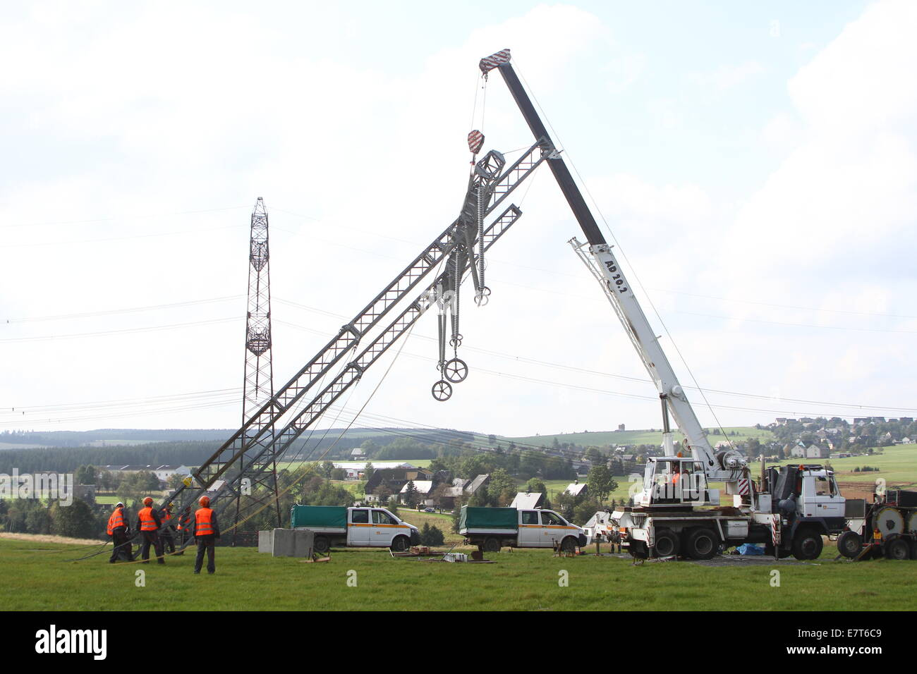 A complex emergency exercise of German and Czech rescue workers in an electricity power line near Hora Sv. Sebastiana, - Stock Image