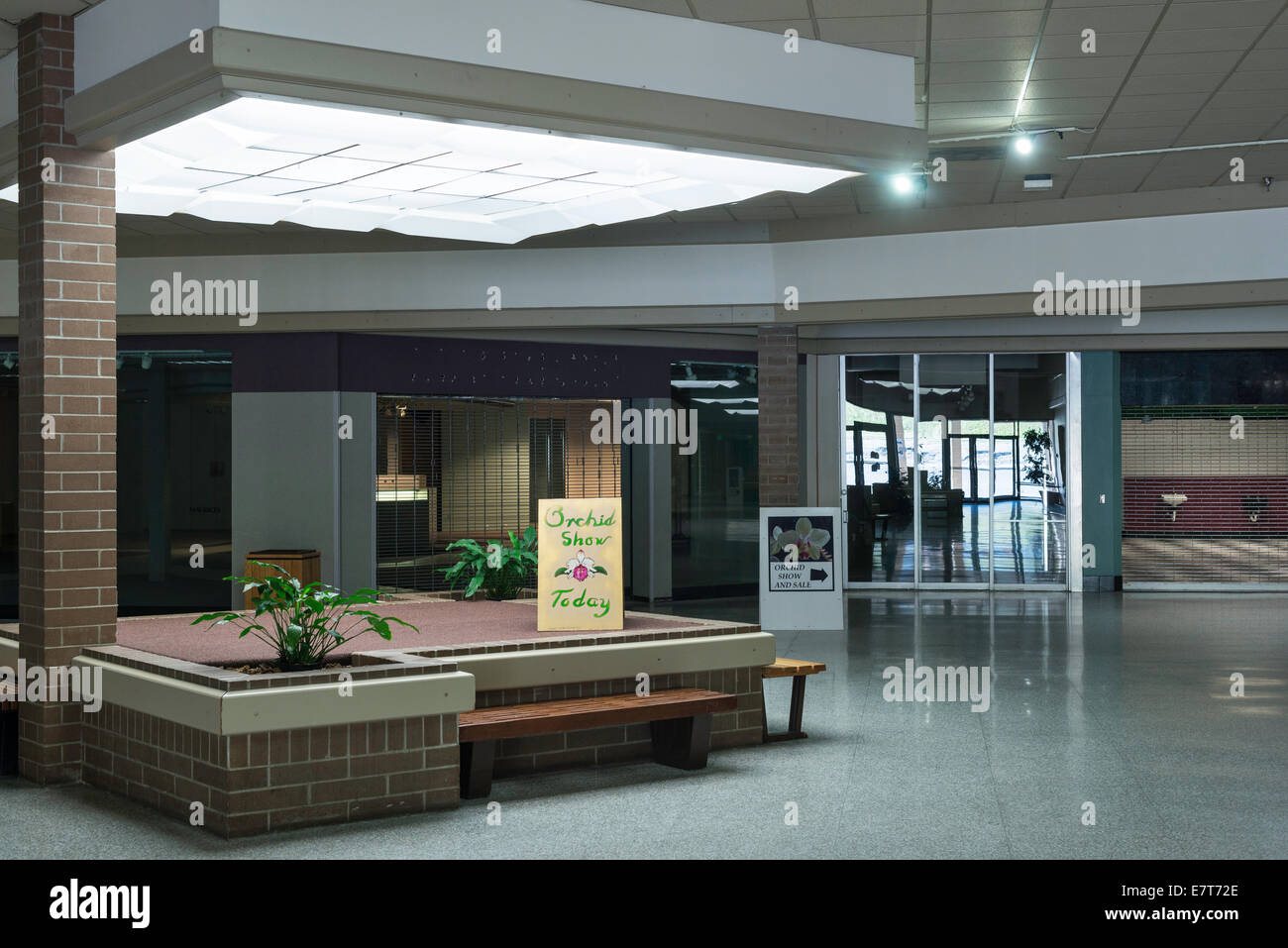 Like a lot of shopping malls across America, Capital City  in Helena, Mont., has many vacant storefronts. - Stock Image