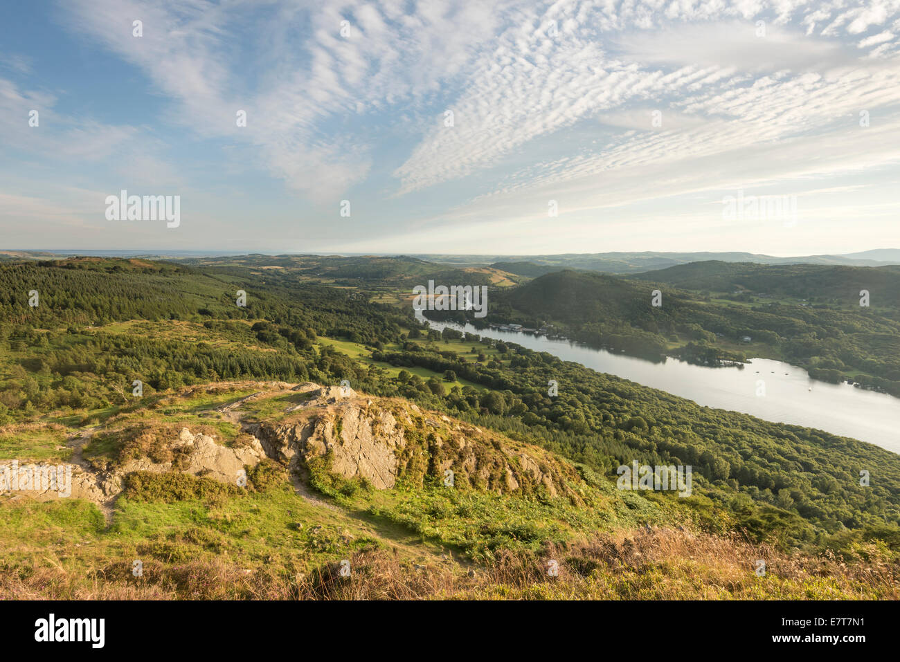 View over Lake Windermere from Gummer's How in the English Lake District - Stock Image