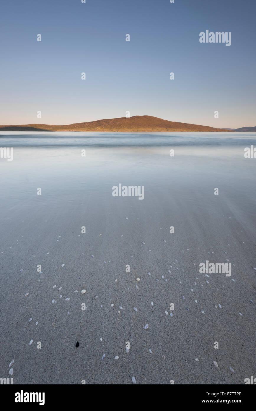 Sea shells on Luskentyre beach, with sunlit Taransay beyond, Isle of Harris, Outer Hebrides, Scotland - Stock Image