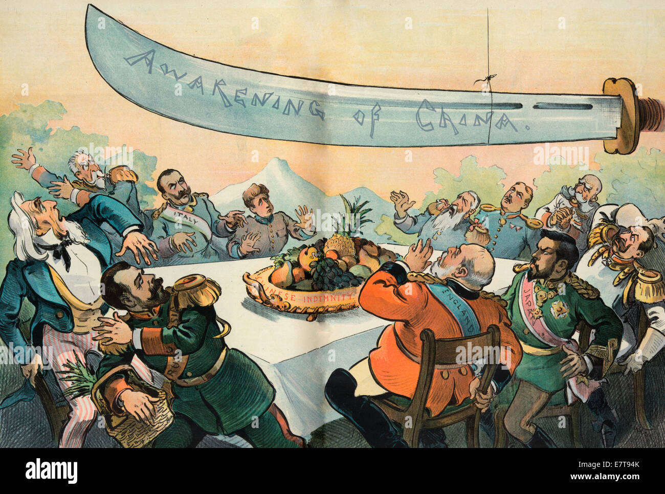 A disturbing possibility in the East - The Awakening of China - Political Cartoon, 1901 - Stock Image