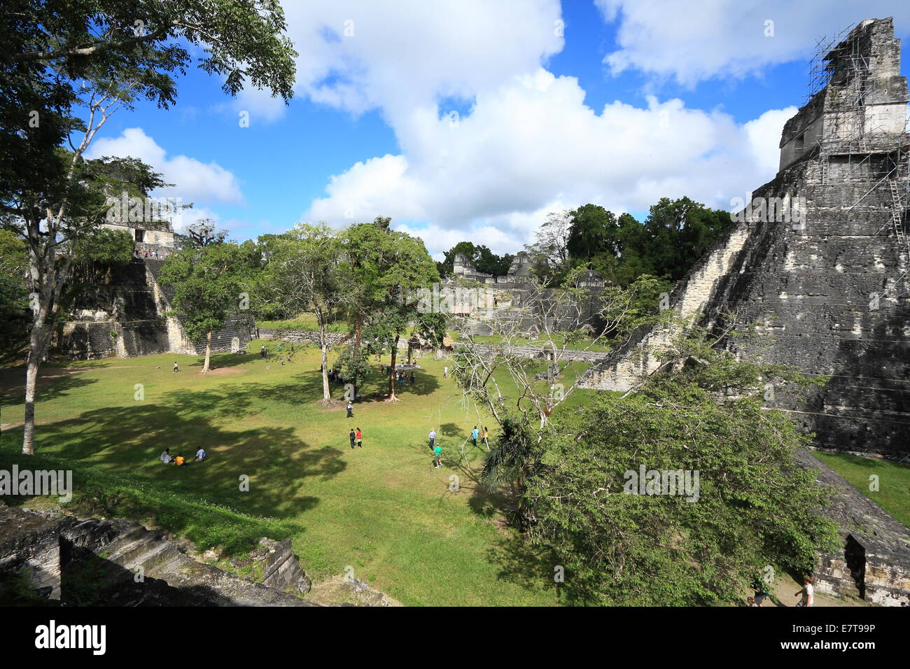 Courtyard surrounded by ruins in the abandoned city of Tikal, a popular National Park in Guatemala. - Stock Image