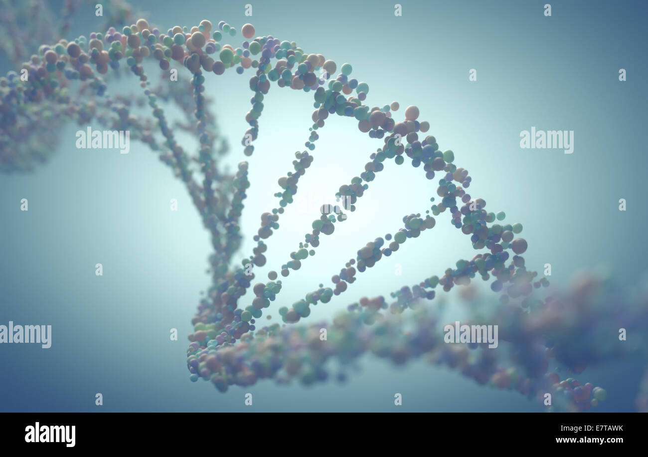Double helix structure of the DNA in depth of view. - Stock Image