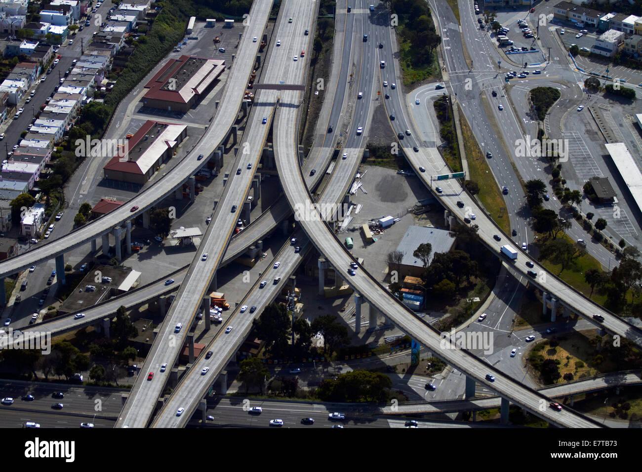 Alemany Maze interchange, San Francisco, California, USA - aerial - Stock Image