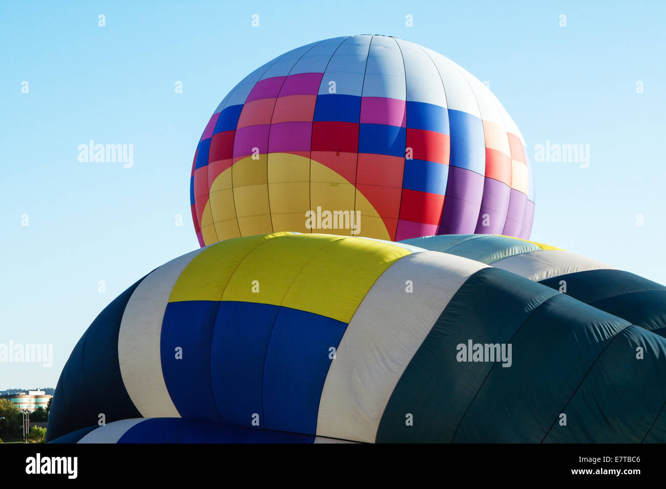 Hot air balloons being inflated and readied for launch Stock Photo