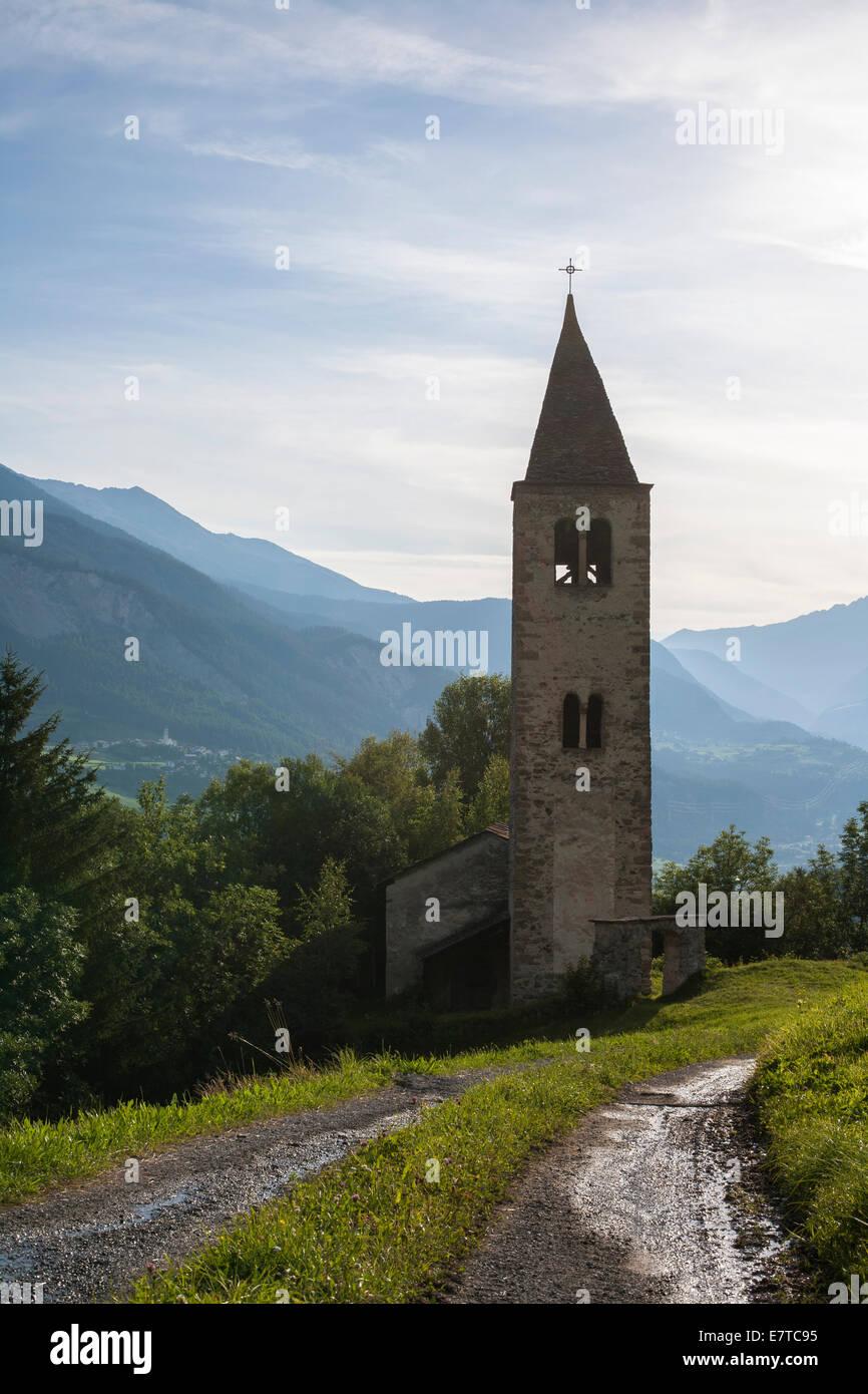 The Church of St. Cosmas & Damian in Mon, Graubünden. Stock Photo