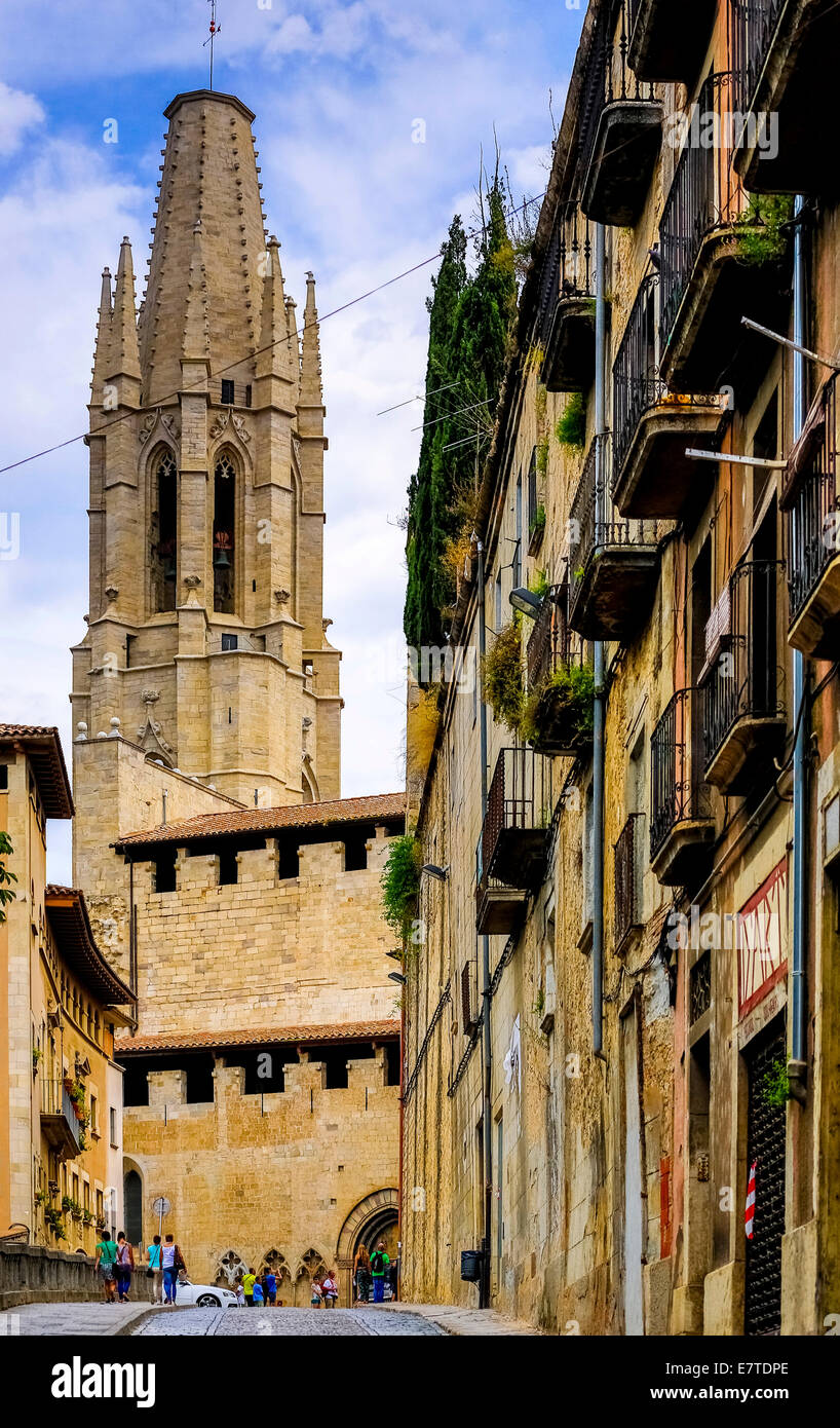 Church of San Feliu or Church of Sant Felix, Girona, Catalonia, Spain Stock Photo