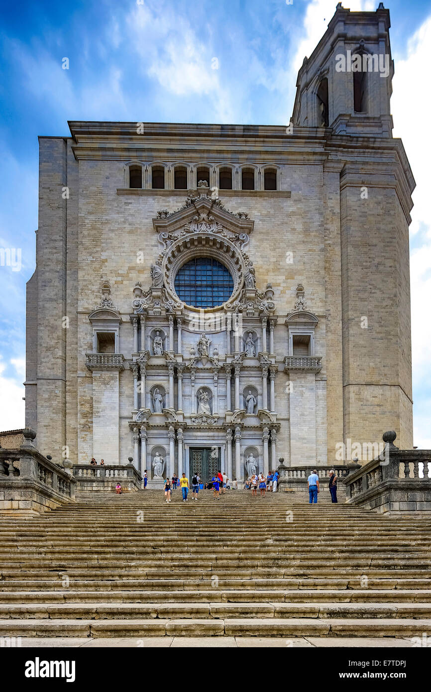 Stairs leading to Girona Cathedral, Cathedral of Saint Mary of Girona, Girona, Catalonia, Spain Stock Photo