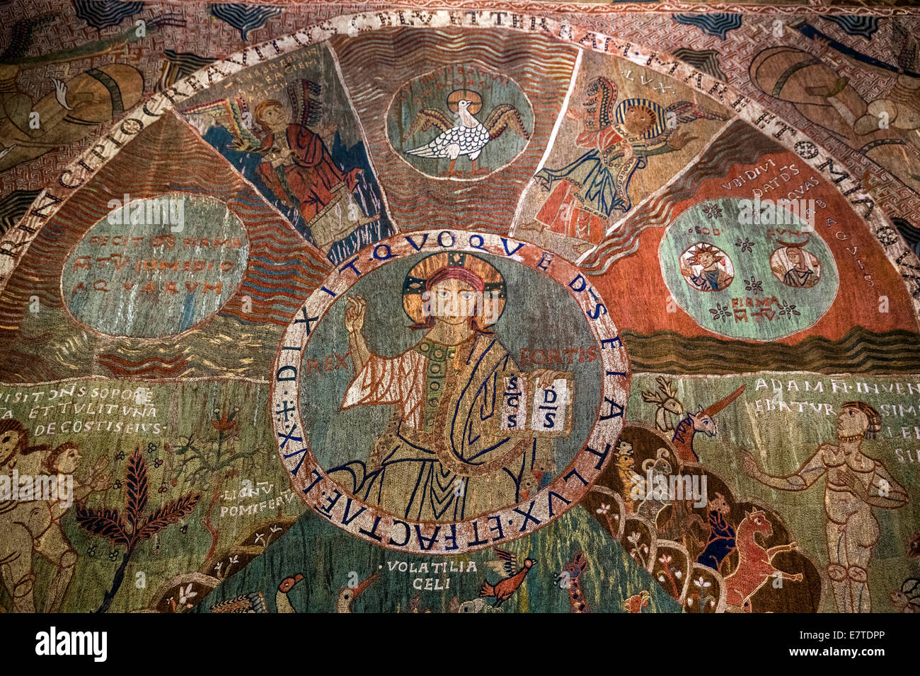 Tapis de la creació, Tapestry of Creation or Girona Tapestry, 11th century, Christ Pantocrator at the centre, - Stock Image