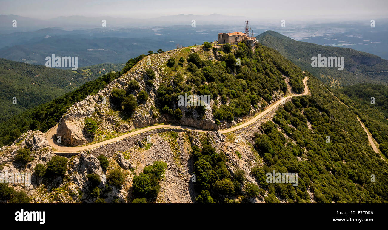 Aerial view, Mare de Deu del Mont Monastery, Monastery of Mother of God of the Mountain, Beuda, Catalonia, Spain - Stock Image