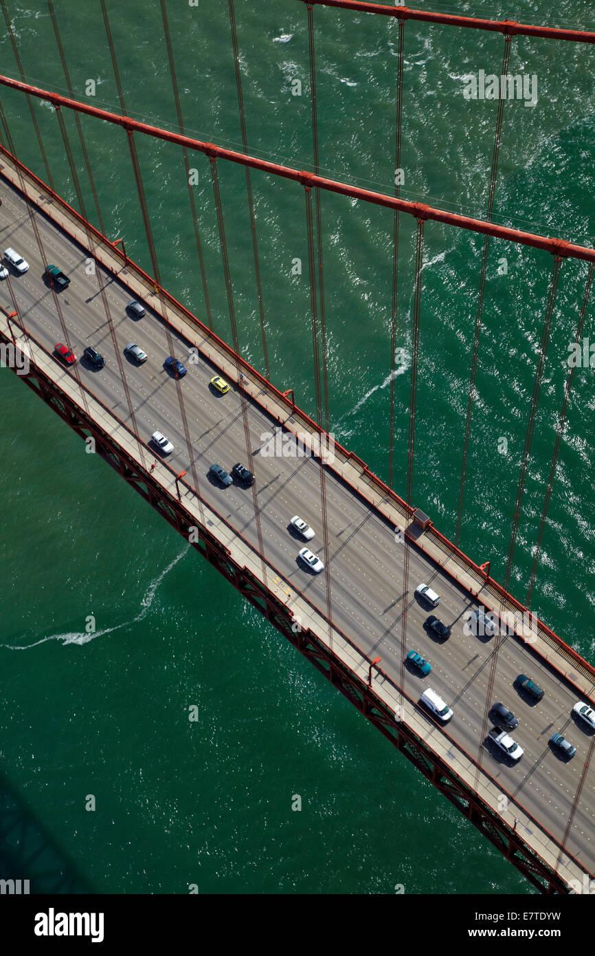 Traffic on Golden Gate Bridge, San Francisco Bay, San Francisco, California, USA - aerial - Stock Image