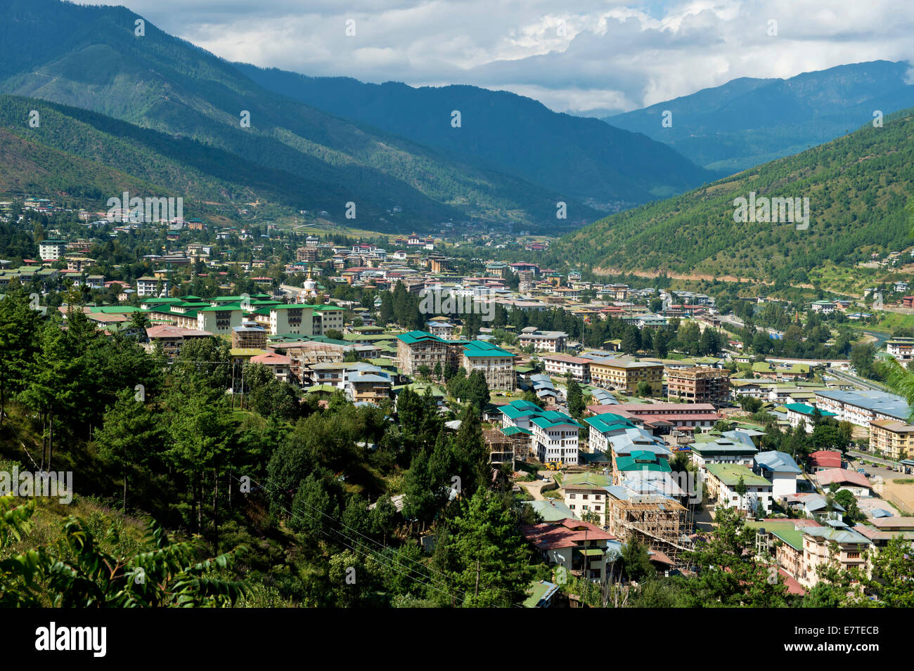 View over the capital city of Thimphu, Bhutan - Stock Image