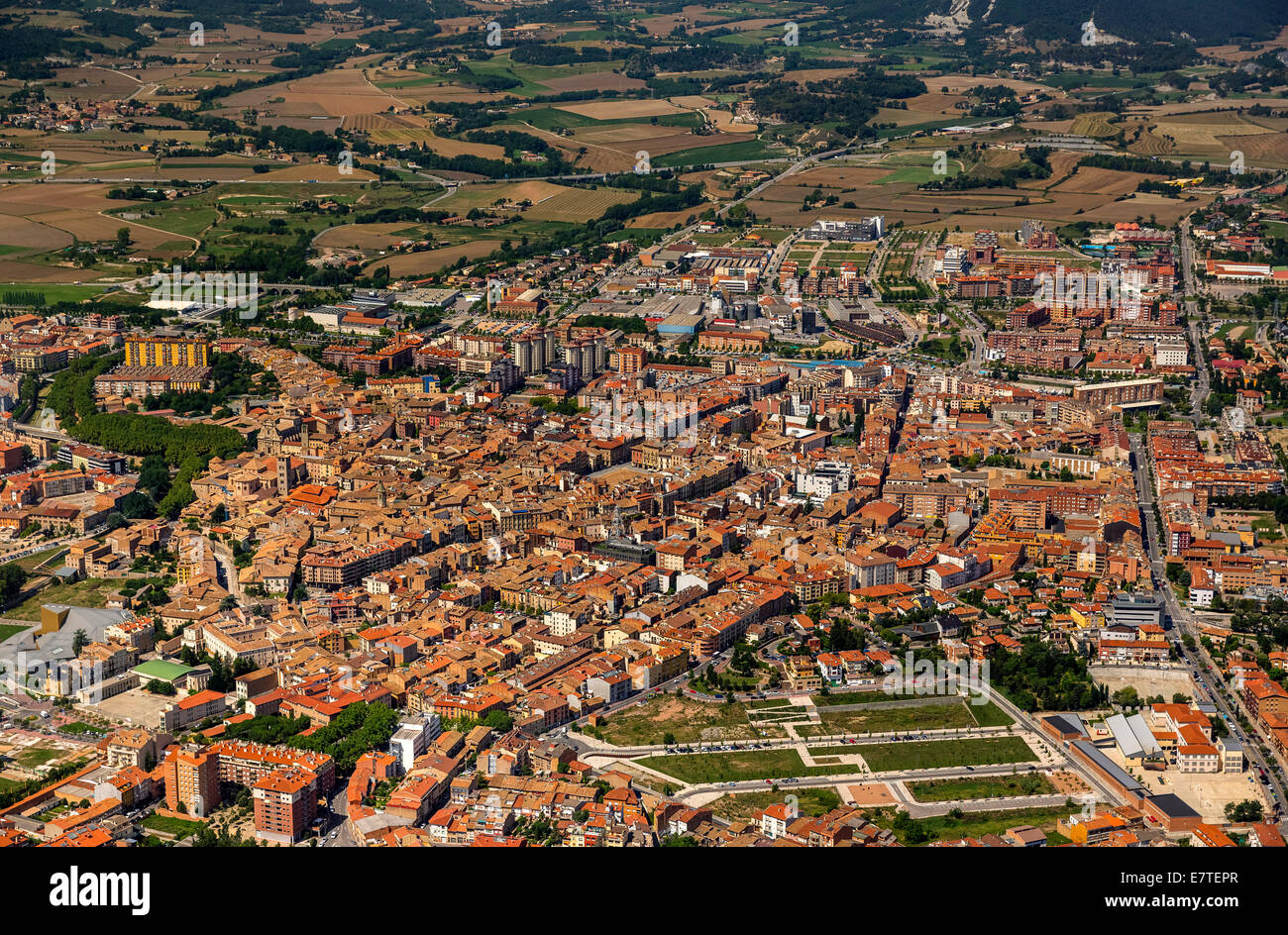 Aerial view, view of the town of Vic, Catalonia, Spain - Stock Image