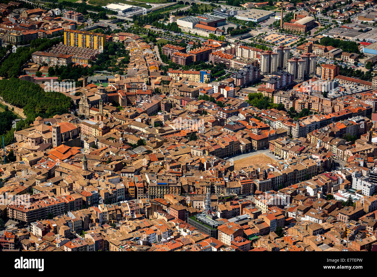 Aerial view, view of the historic centre, Vic, Catalonia, Spain - Stock Image