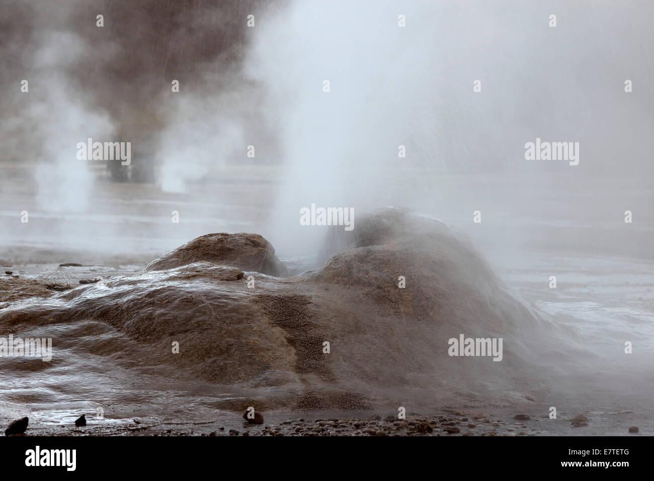 Geyser, vent releasing steam, El Tatio, the highest geyser field in the world, Antofagasta, on the edge of the Atacama - Stock Image