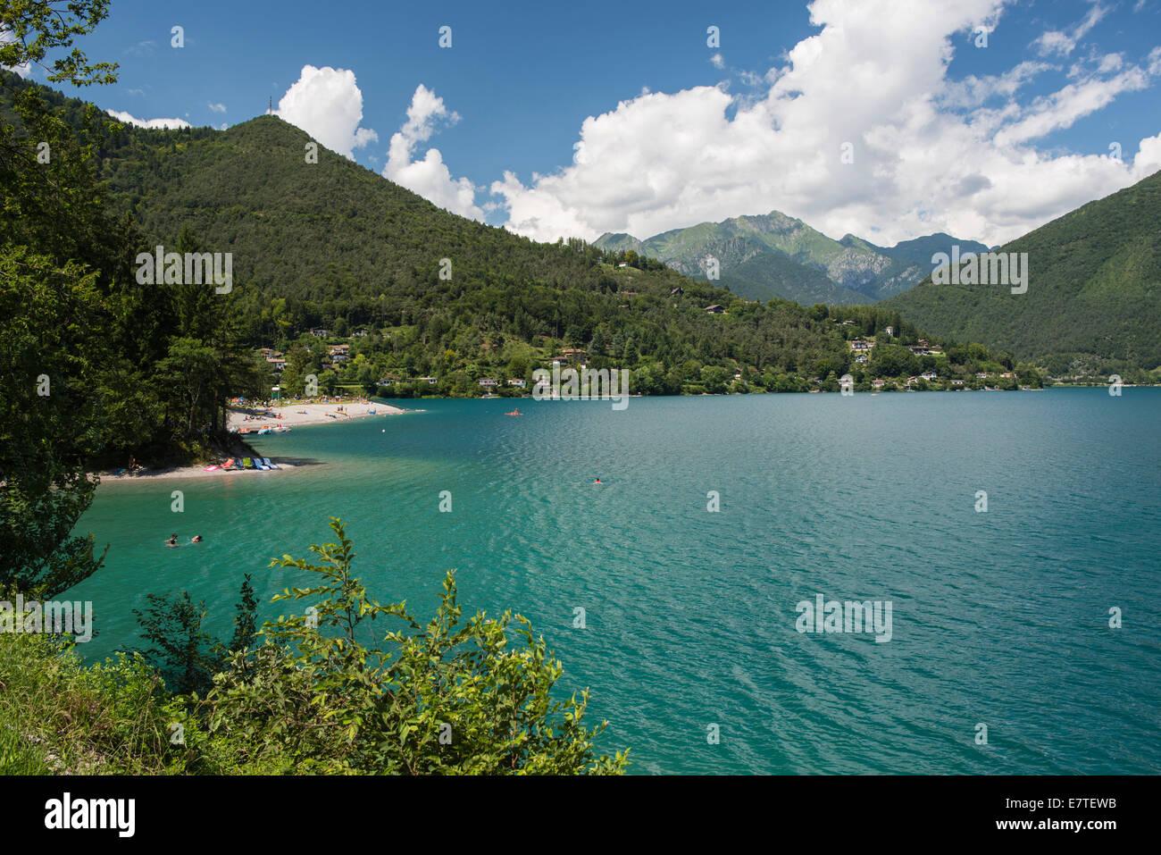Lago di Ledro and Lake Ledro, Ledro, Trentino-Alto Adige, Italy - Stock Image