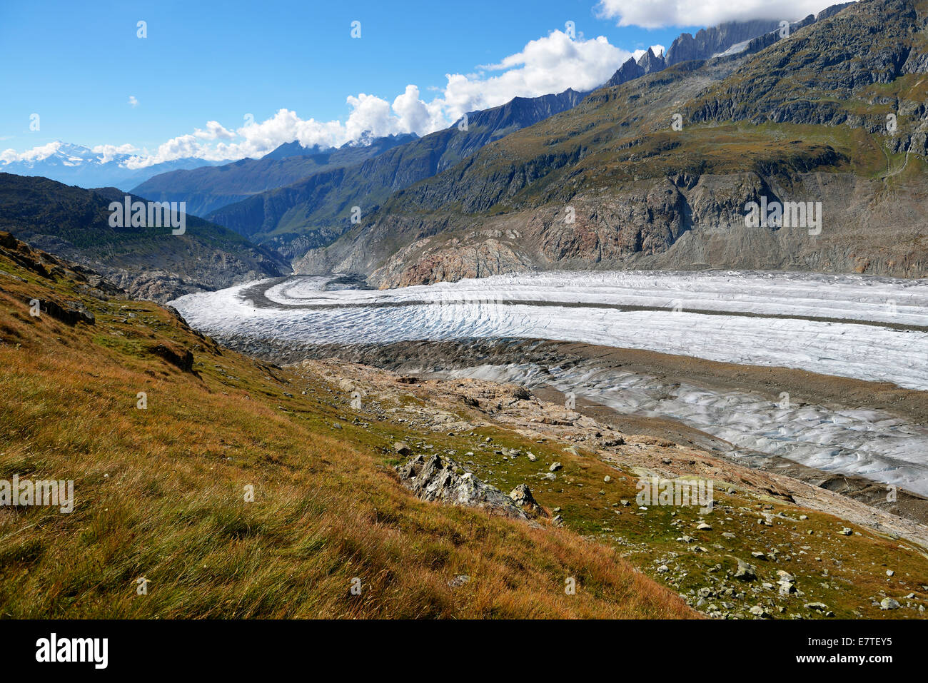 Foothills of the Great Aletsch Glacier, Canton of Valais, Goms, Switzerland - Stock Image