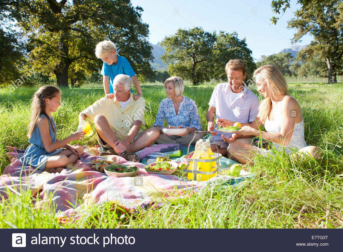 Multi-generation family having picnic in rural field - Stock Image