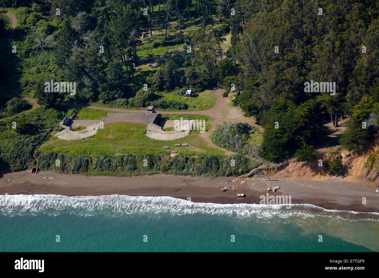 Old defence batteries by Kirby Cove Camp, Marin Headlands, San Francisco, California, USA - aerial - Stock Image