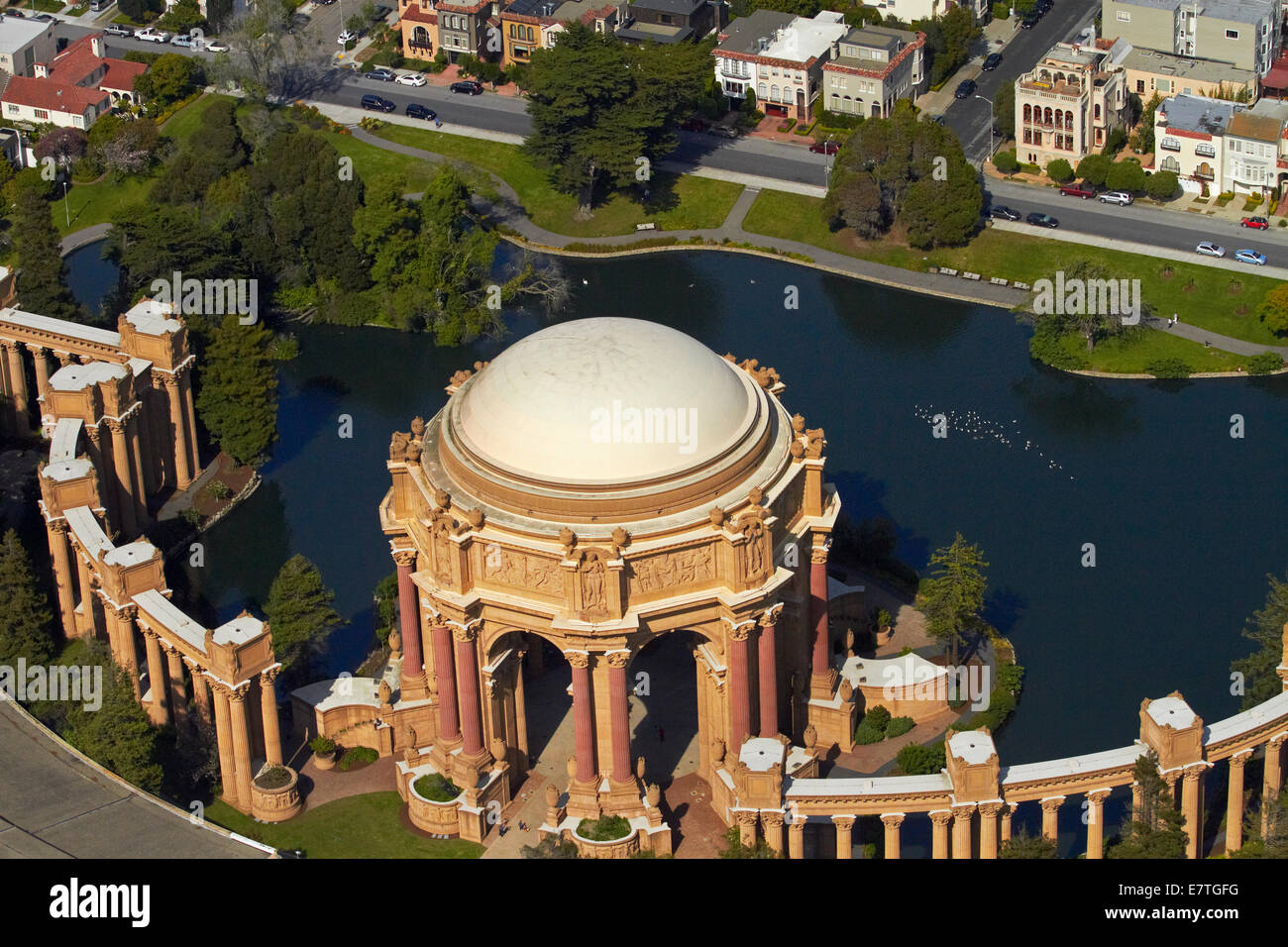 The Palace of Fine Arts, Marina District, San Francisco, California, USA - aerial - Stock Image