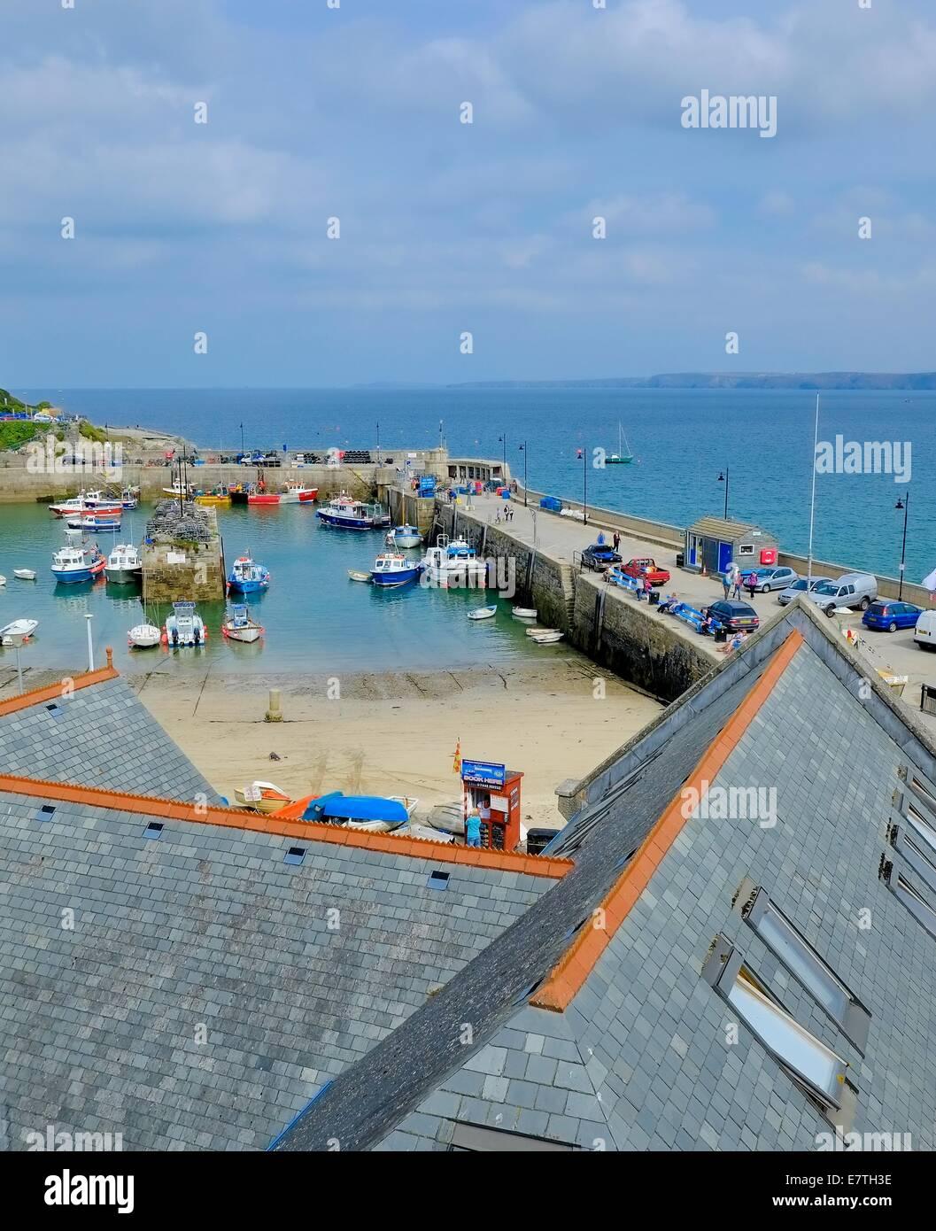 Newquay harbour Cornwall England uk - Stock Image