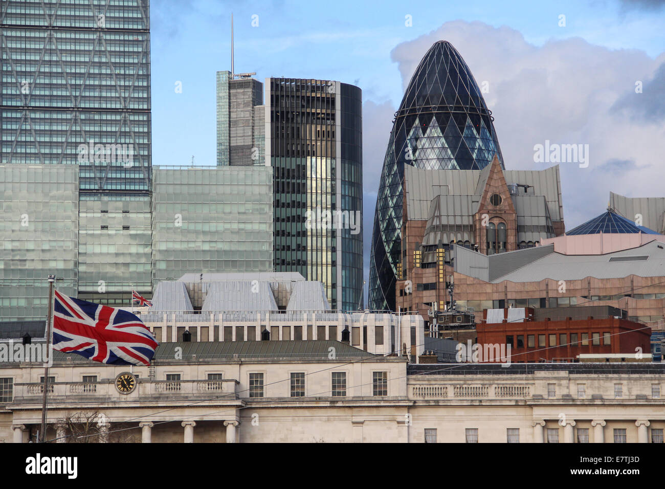 England: City of London with 30 St Mary Axe (the Gherkin). Photo from 10. January 2014. Stock Photo