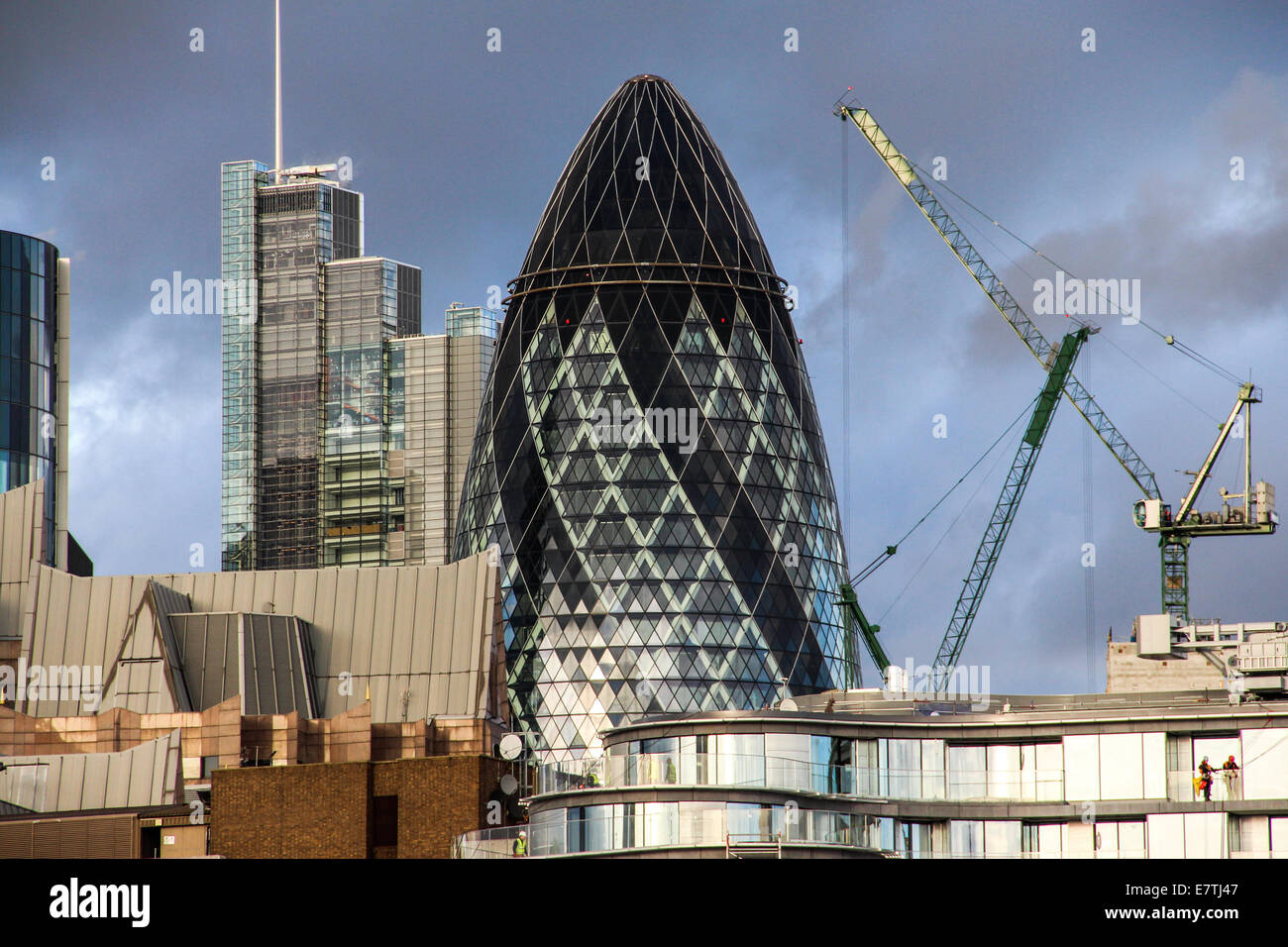 England: 30 St Mary Axe (the Gherkin) at the City of London. Photo from 10. January 2014. Stock Photo