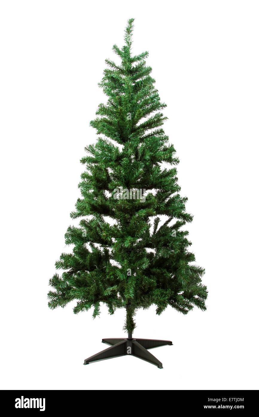 Christmas tree, isolated on white background. - Stock Image
